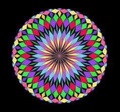 菱形图案绘制彩色圆球动画特效