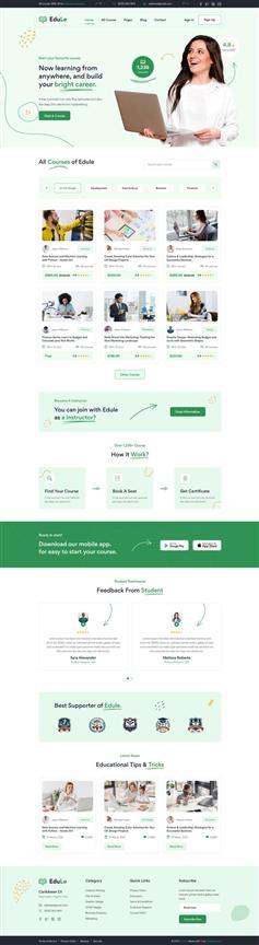 在线学习课程平台网站web模板