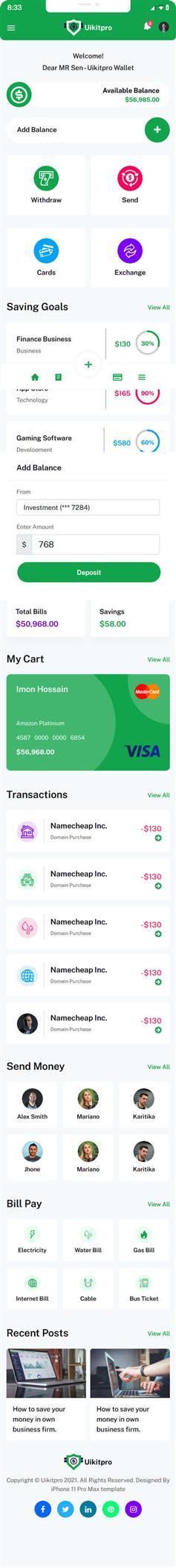炫酷手机钱包app页面wap模板