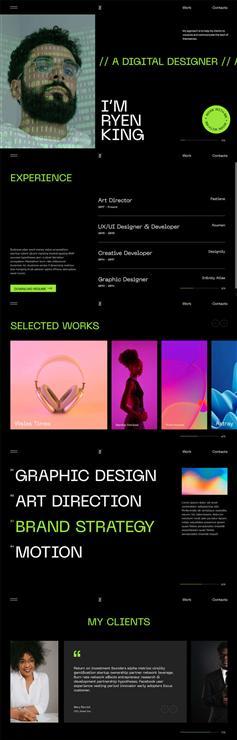 全屏设计师个人主页HTML5模板