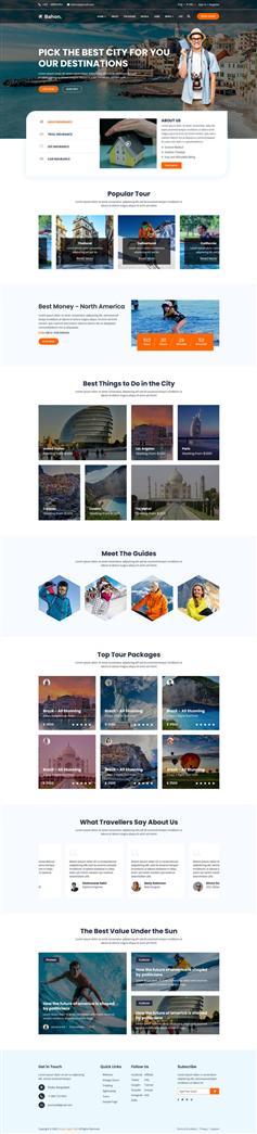 旅游景点攻略介绍主页HTML5模板