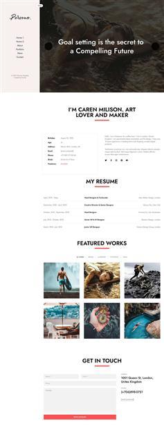 侧边栏样式个人图文简历网站模板