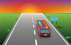 海边公路上行驶的汽车ui动画特效