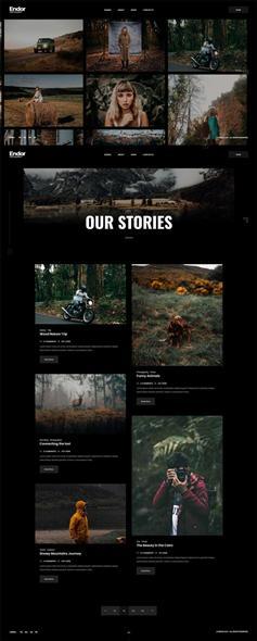 黑色创意摄影图片作品展示网页模板